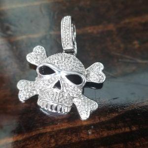 Sterling Silver & Diamond Skull & Crossbones